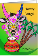 Custom Front, Pongal for Parents, Add Your Text, Decorated Cow card