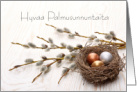 Happy Palm Sunday, Finnish, Willows, Nest, and Eggs card