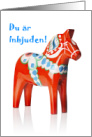 You're Invited in Swedish, Dala Horse card