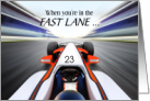 23rd Birthday for Grandson, Race Car, Fast Lane card