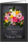 Wedding Anniversary for Secret Pal, Flowers on Slate card