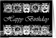 Happy Birthday for Actor, Vintage Theatrical Masks Illustration card