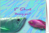 1er Avril Poisson d'Avril, April Fish French card