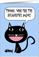 Thank You for Dinner, Cartoon Black Cat with Fish Bones card