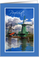 Proficiat! Dutch Birthday Congratulations, Windmills Photograph card