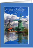 Hartelijk Gefeliciteerd Opa, Birthday for Grandpa in Dutch, Windmills card