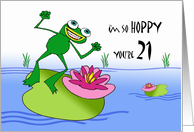 21st Birthday, Hoppy Frog and Lily Pad at Pond card