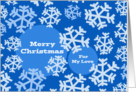 Christmas for Girlfriend, Snowflakes in Shades of Blue Design card