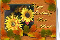Birthday for Mom Mom, Autumn Leaves and Flowers card