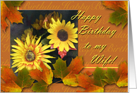 Birthday for Wife, Autumn Leaves and Flowers card