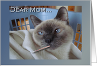 Get Well for Mom, Funny Sick Cat card