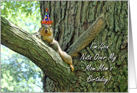 Mom Mom's Birthday Greeting Card, Funny Squirrel With Hat card