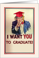 Send Off to College, Uncle Sam with Graduation Cap card