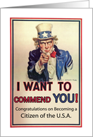 Congratulations on U.S.A. Citizenship, Uncle Sam card