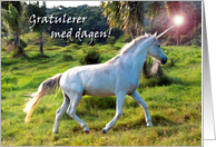 Birthday in Norwegian, Mystical Unicorn card