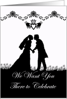 Wedding Invitation, Irish Wedding Couple in Silhouette card