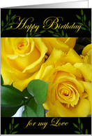 Birthday for Wife, Yellow Roses card