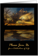 Celebration of Life Invitation, Sunset Reflections card