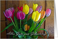 Happy Birthday in German, Tulip Arrangement card