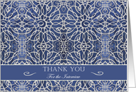 Business Thank You for the Interview, Elegant Blue Filigree Design card