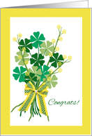 St. Patrick's Day Wedding Congratulations, Shamrock Bouquet card
