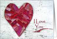 I Love You, Stitched Heart and Distressed Wood card