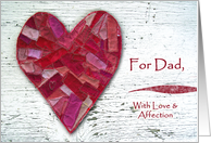 Valentine for Dad, Stitched Heart and Distressed Wood card