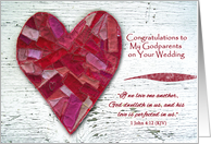 Congratulations to Godparents on Wedding, Primitive Heart Art card