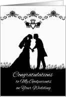 Congratulations to Godparents on Wedding, Couple in Silhouette card