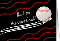 Thank You Assistant Coach, Baseball With Action Lines, Red Stitches card
