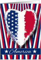 America, Patriotic Labor Day, Heart, Stripes, and Stars card