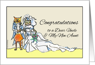 Congratulations on Wedding for Uncle, Bride and Groom Cats card