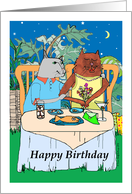 Birthday for Wife, Cat Couple in a Tropical Setting card