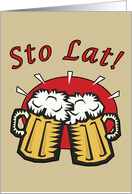 Sto Lat With Beer Mugs card