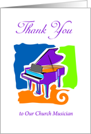 Thank You to our Church Musician, piano symbol card