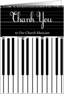 Thank You to our Church Musician, piano keyboard card
