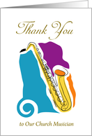 Thank You to our Church Musician, saxophones card