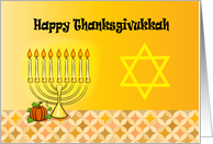 Thanksgivukkah, pumpkin & candles on menorah, Star of David card