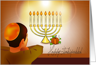Thanksgivukkah, a boy looking at pumpkin & candles on menorah card
