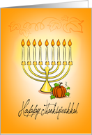 Thanksgivukkah, pumpkin & candles on menorah card