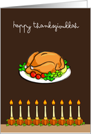 Thanksgivukkah, roasted turkey & pumpkin beside candles on menorah card