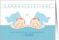 congratulations on becoming great grandparents to twin boys card