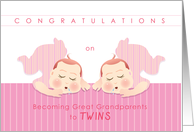 congratulations on becoming great grandparents to twins, girls card