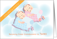 congratulations on becoming great grandparents to twins, boy & girl card