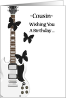 Cousin's Rockin' Birthday, white guitar with black butterflies card