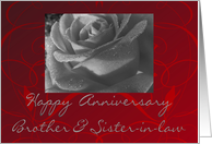 Happy Anniversary Brother & Sister-in-law, black & white rose card