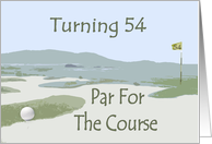54th Birthday, golf course card