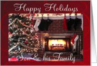 Happy Holidays Son & his family, Christmas tree & fireplace card
