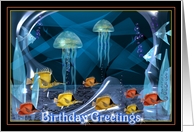 Crystal jellyfish in the water celebrate your birthday card
