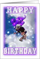 Fooball player rushes balloons and birthday wishes card